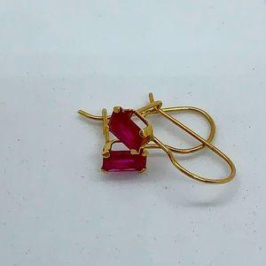 10kt gold pierced dangle earrings lab created ruby